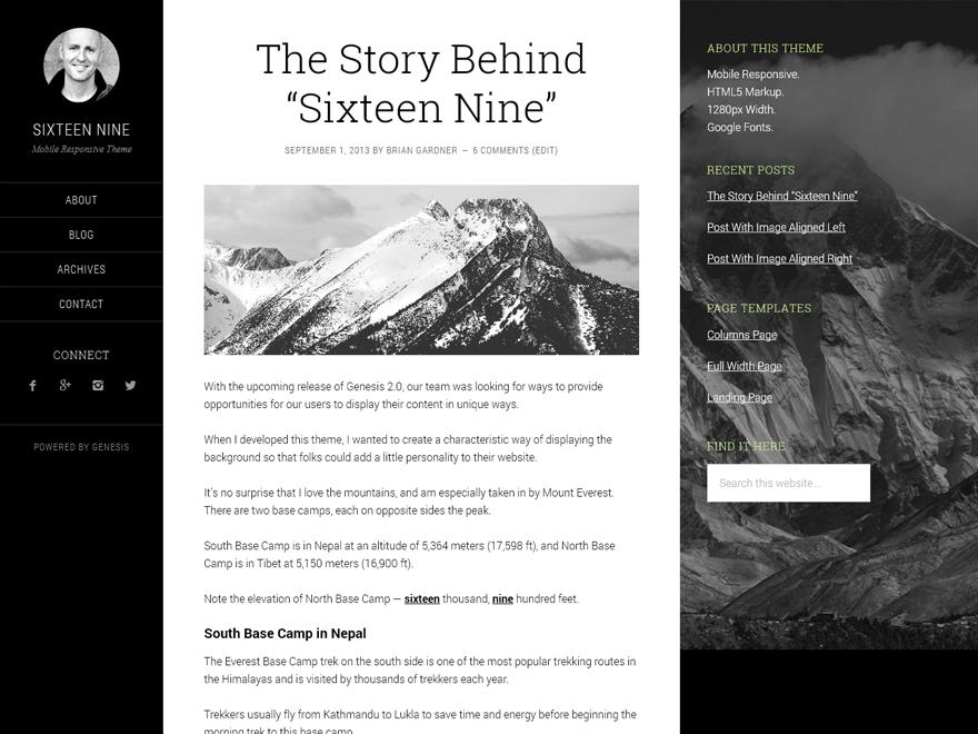 sixteen nine pro premium wordpress themes