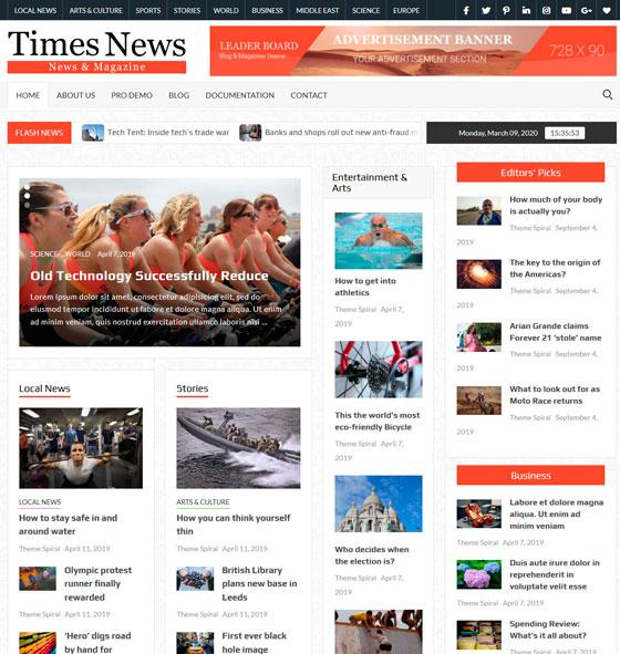 TimesNews premium wordpress themes