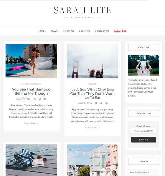 SarahLite premium wordpress themes