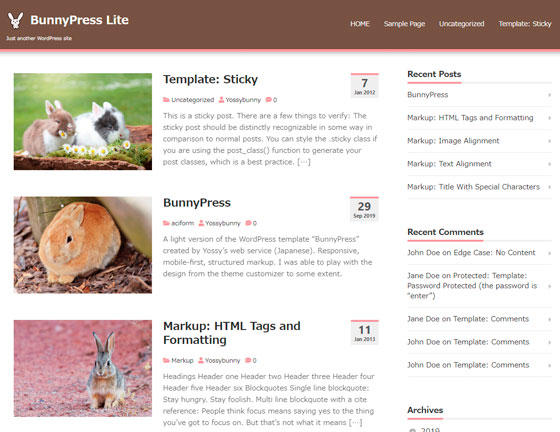 BunnyPressLite premium wordpress themes