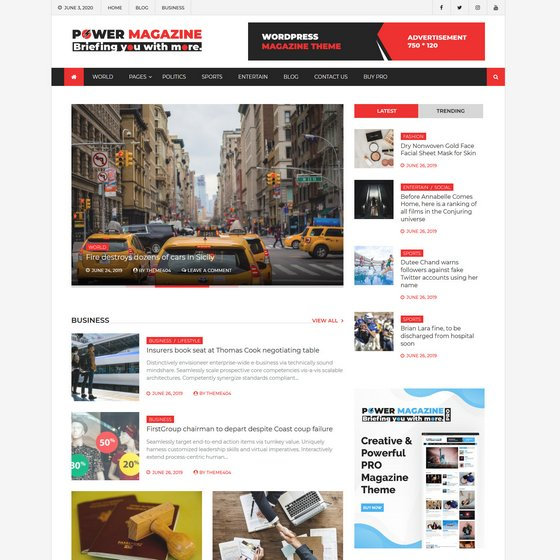 Power Magazine premium wordpress themes
