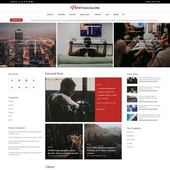 Purea Magazine premium wordpress themes