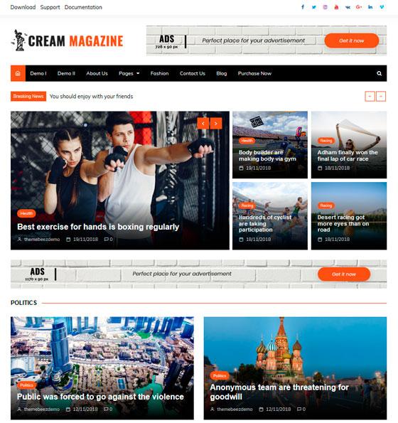 Cream Magazine premium wordpress themes