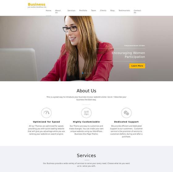 Business One Page premium wordpress themes