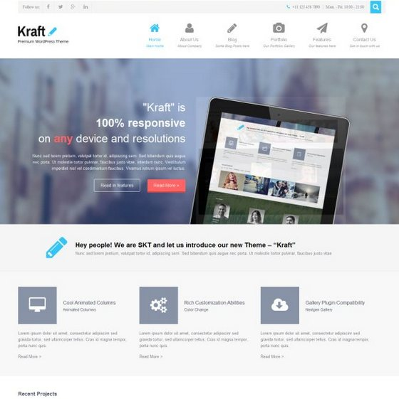 Kraft Lite premium wordpress themes