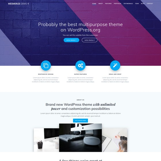 Mesmerize premium wordpress themes