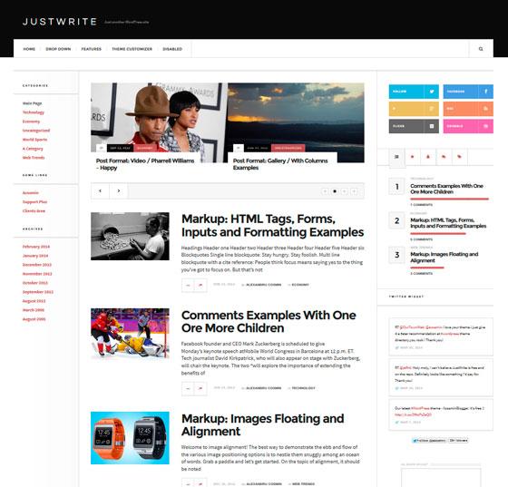 JustWrite premium wordpress themes