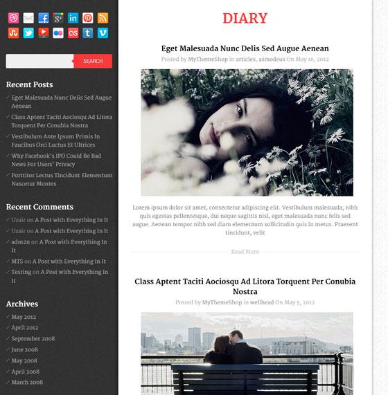 Diary premium wordpress themes