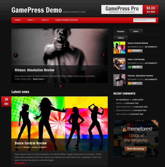 GamePress premium wordpress themes