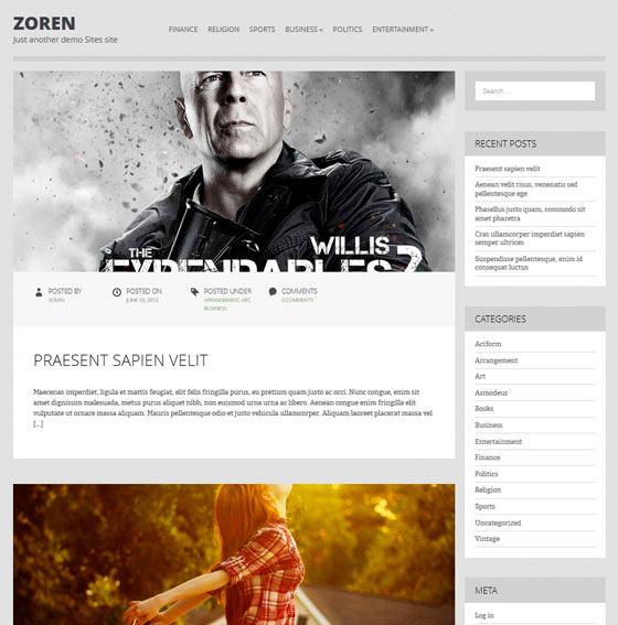Zoren premium wordpress themes