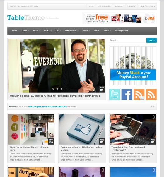 Table premium wordpress themes